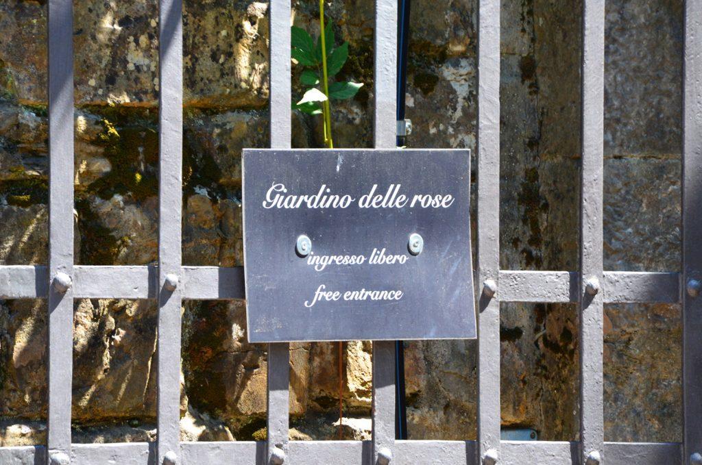 Vstup do Giardino delle Rose  je zdarma