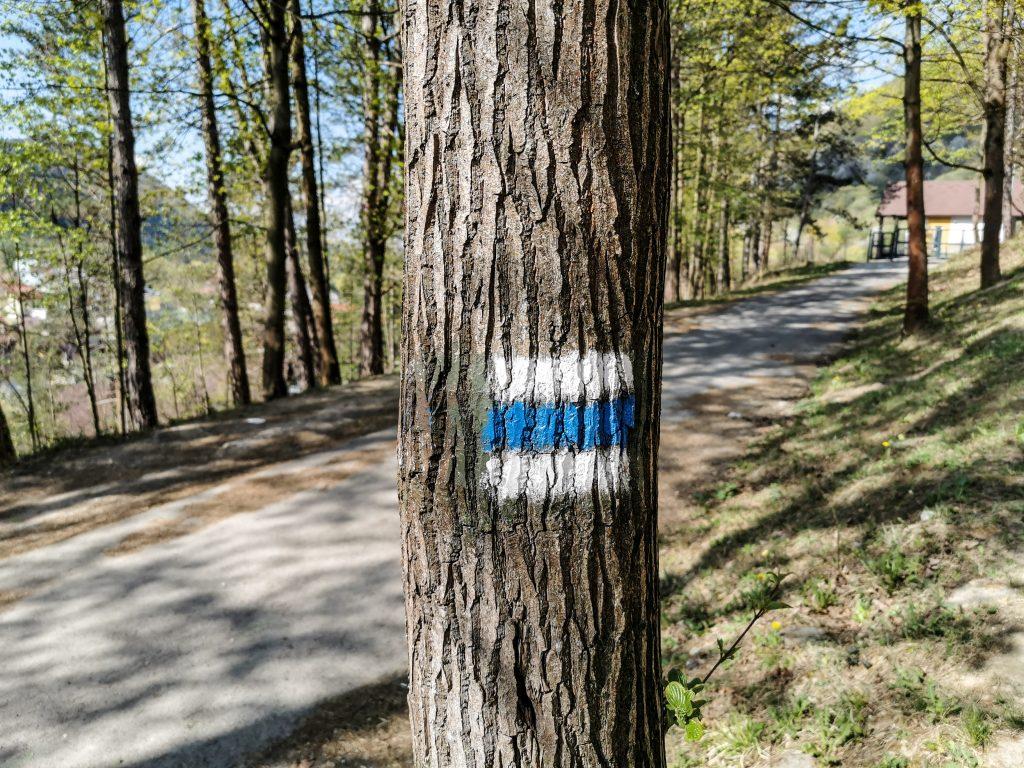 Treba sledovať modrú značku
