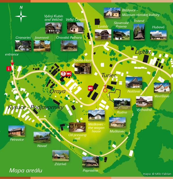 Mapa: Múzeum slovenskej dediny / Zdro: MSD Martin