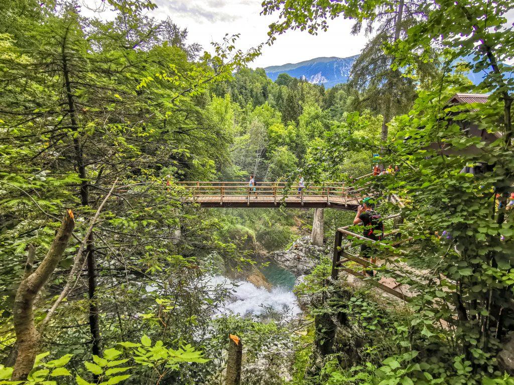 Tiesňava Vintgar - most nad Vodopádom Šum