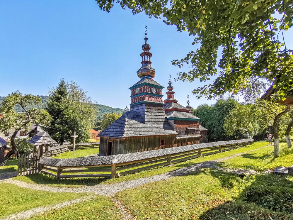 Skanzen Bardejov - Gréckokatolícky drevený kostol z Mikulášovej