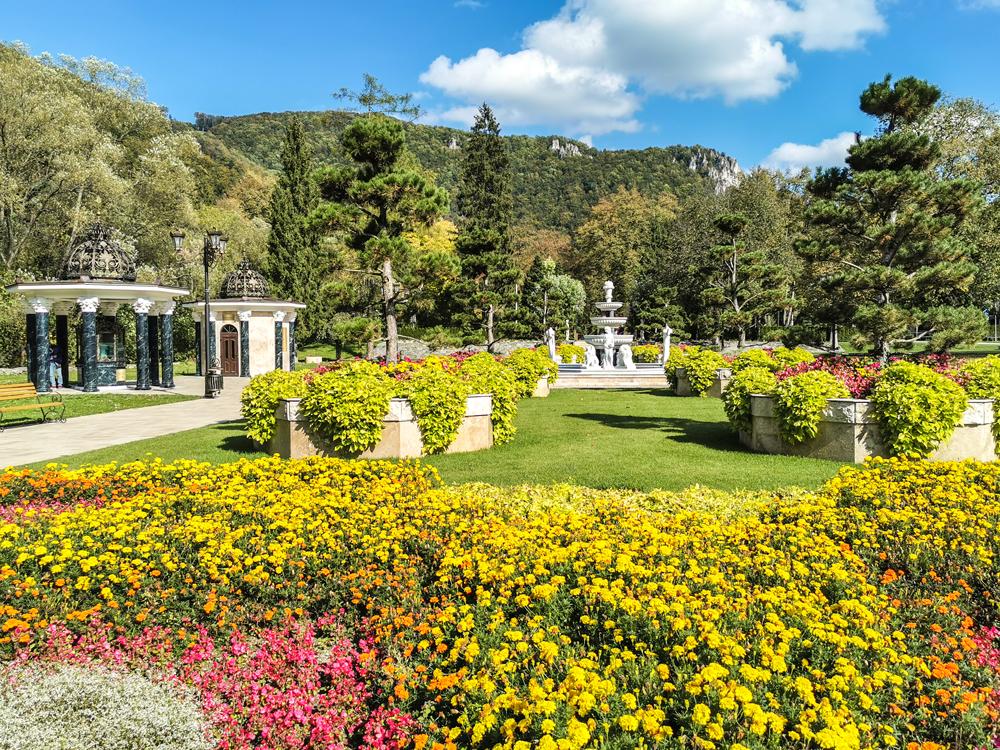 Park s fontánou pri Spa Aphrodite